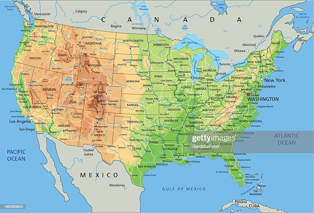 High detailed physical map of  United States of America.