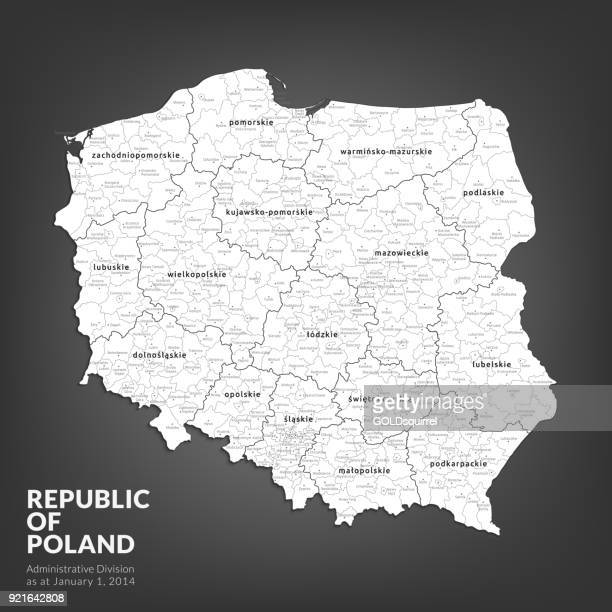 high detailed polish administrative map with with voivodships and powiats - vector illustration - poland stock illustrations
