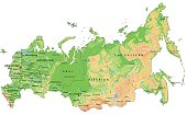 High detailed Russia physical map with labeling.