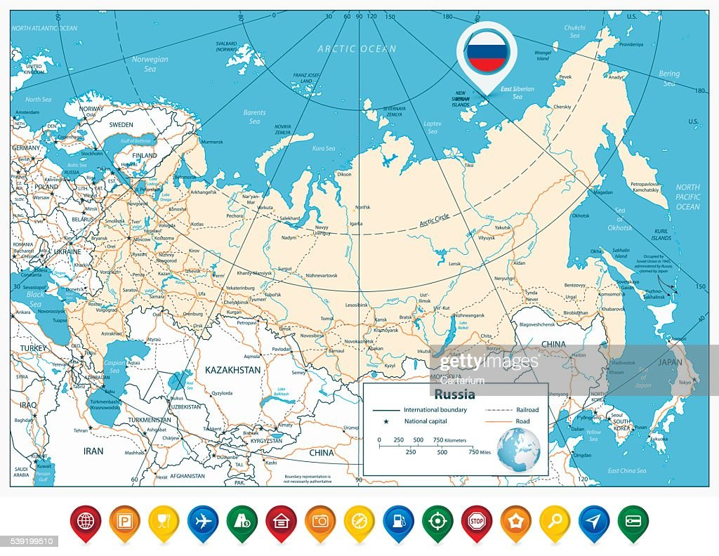 High detailed Russia road map and colorful map pointers