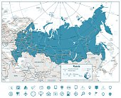 High detailed Russia road map with navigation icons