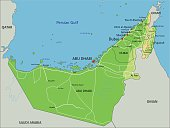 High detailed United Arab Emirates physical map with labeling.