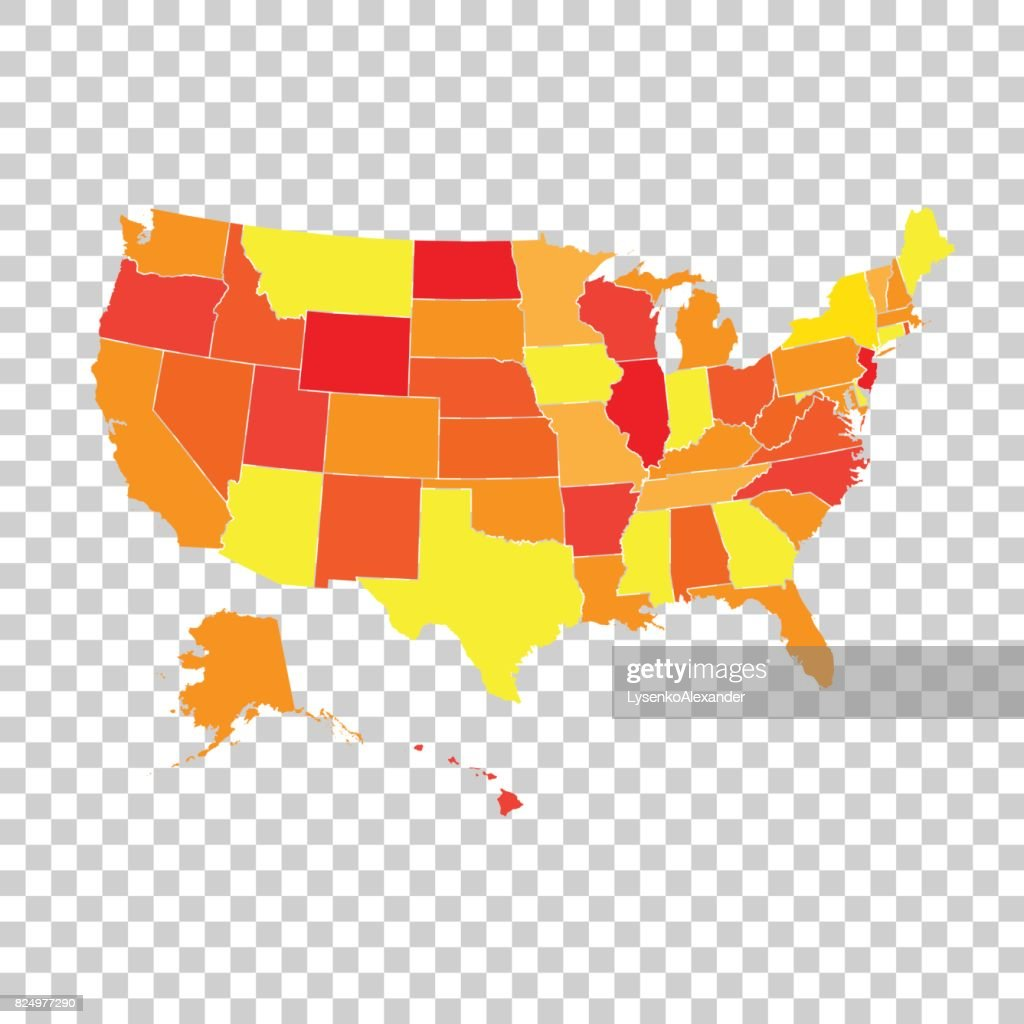 High detailed USA map with federal states. Vector illustration United states of America.