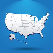High detailed USA map with federal states. Vector illustration United states of America on blue background.
