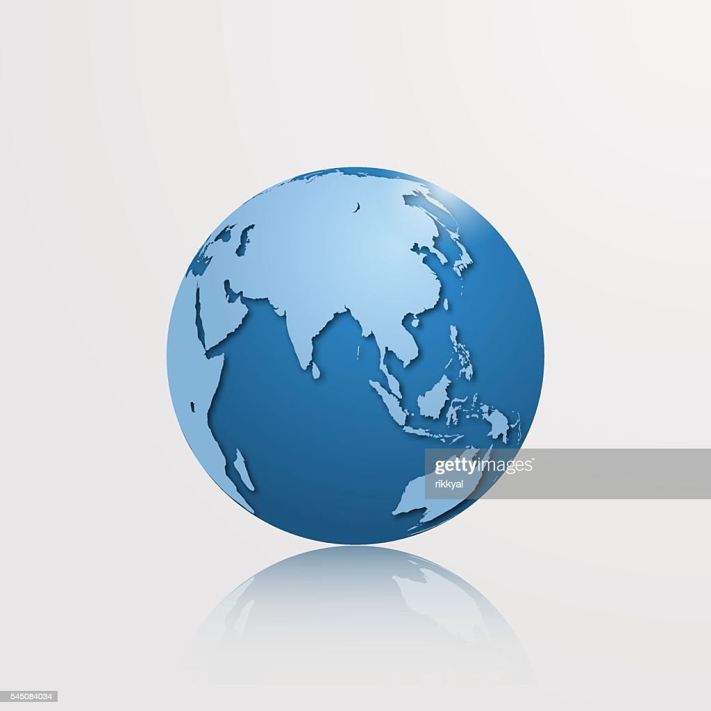High detailed vector globe with Eurasia and Oceania.