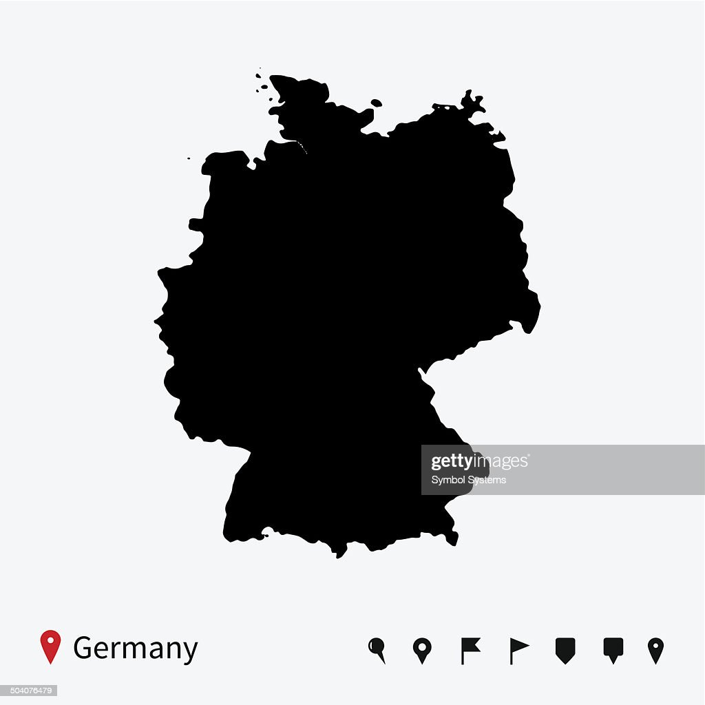 High detailed vector map of Germany with navigation pins.