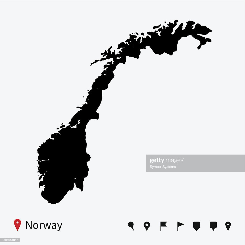 High detailed vector map of Norway with navigation pins.