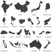 high detailed vector maps of asian countries, Australia and New Zealand