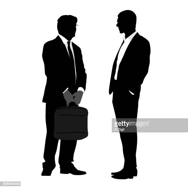 high end salesman pitch - glühend stock illustrations