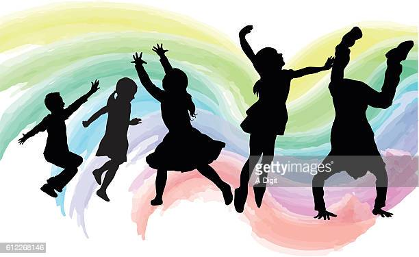 high energy kids watercolor - dancing stock illustrations, clip art, cartoons, & icons