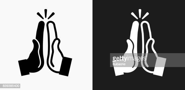 High Five Icon on Black and White Vector Backgrounds
