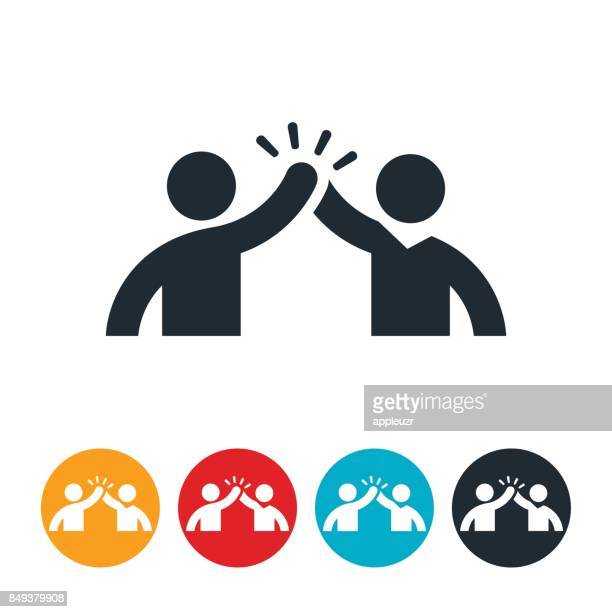 high five icon - partnership teamwork stock illustrations