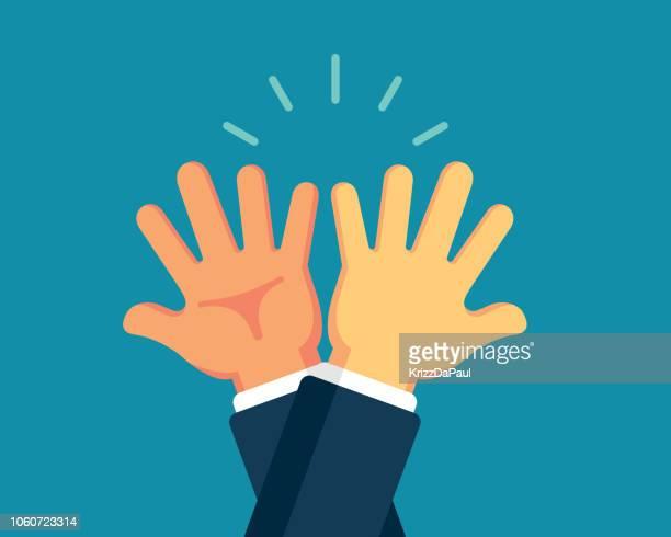 high-five - high five stock-grafiken, -clipart, -cartoons und -symbole
