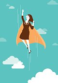 High Flying Super Businesswoman   New Business Concept