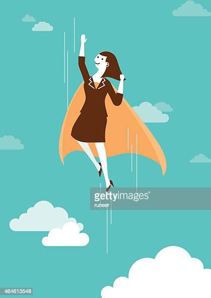 Hoch fliegen Super Geschäftsfrau und Business-Konzept