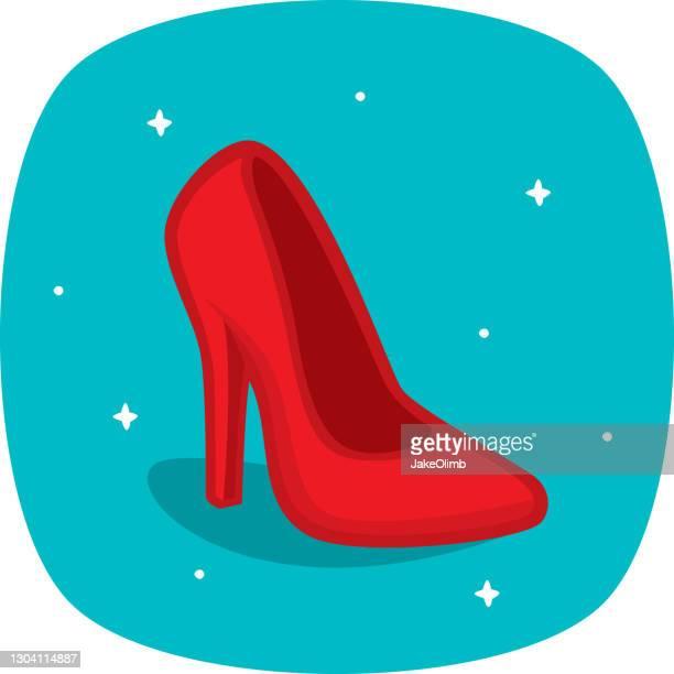 high heel shoe doodle 1 - red shoe stock illustrations