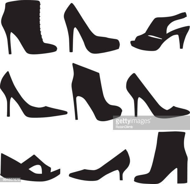 ilustraciones, imágenes clip art, dibujos animados e iconos de stock de conjunto de iconos de zapato de tacón alto - tacones altos