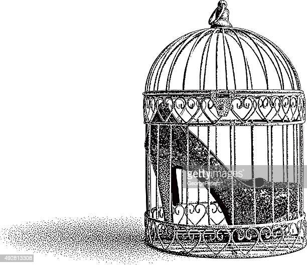 high heel shoes in birdcage - cage stock illustrations, clip art, cartoons, & icons