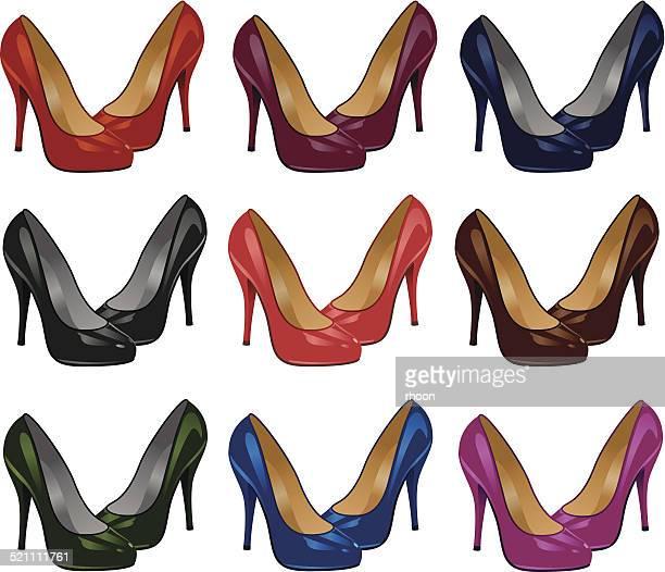 high heel shoes - high heels stock illustrations, clip art, cartoons, & icons