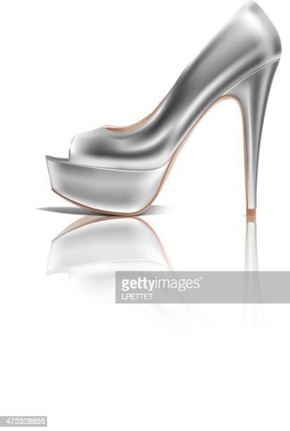 high heel - vector illustration - silver shoe stock illustrations