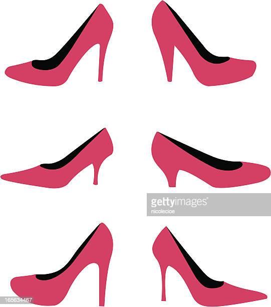 high heels - pump dress shoe stock illustrations