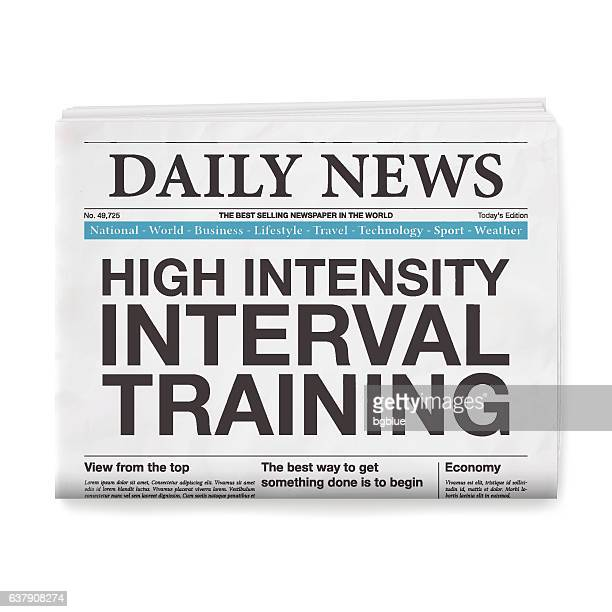 high intensity interval training headline. newspaper isolated on white background - tall high stock illustrations