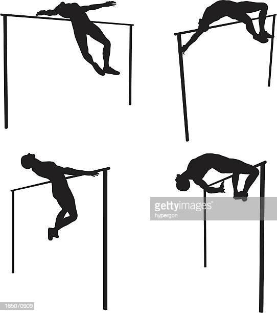 high jump silhouettes - high jump stock illustrations