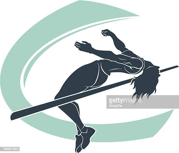 high jumper - high jump stock illustrations