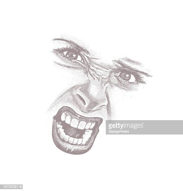 high key engraving of woman's angry expression - high key stock illustrations, clip art, cartoons, & icons