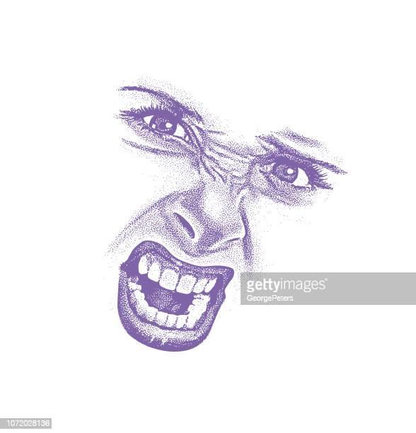 illustrations, cliparts, dessins animés et icônes de haute expression fâchée de gravure de la femme-clés - droits de la femme