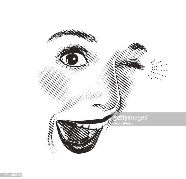 illustrations, cliparts, dessins animés et icônes de gravure de haute clé des yeux et des lèvres de la femme, avec l'expression heureuse et étonnée - lumière vive
