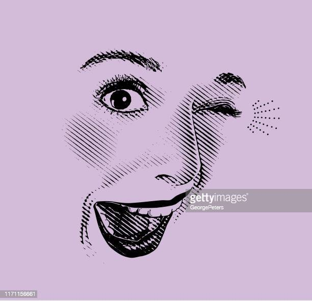 high key engraving of woman's eyes and lips, with happy, surprised expression - toothy smile stock illustrations