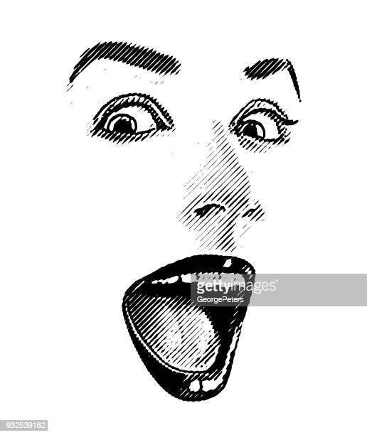 ilustraciones, imágenes clip art, dibujos animados e iconos de stock de alta clave grabado de mujer ojos y labios, con expresión feliz, sorprendido - maquillaje para ojos