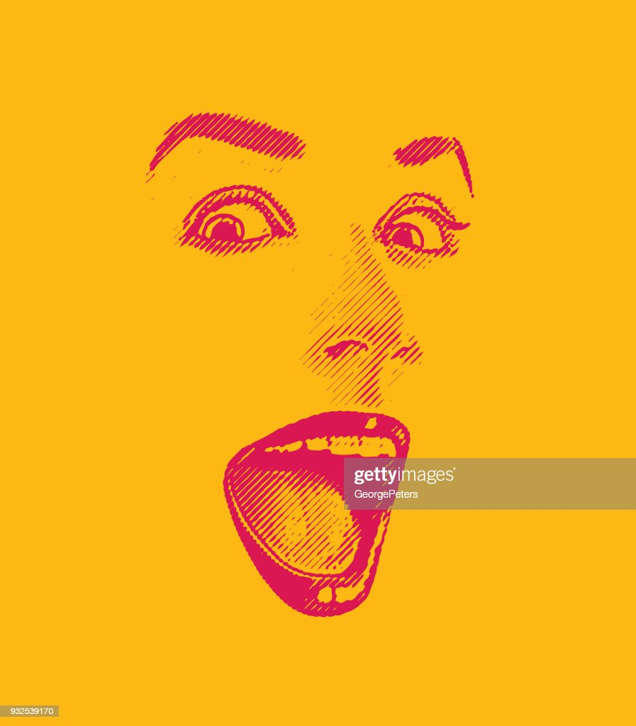 High key Engraving of Woman's eyes and lips, with happy, surprised expression : Stock Illustration