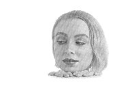 High key engraving of young woman's face with copy space
