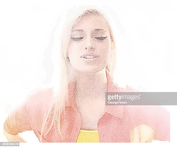 high key portrait of a sensuous young woman - eyes closed stock illustrations, clip art, cartoons, & icons