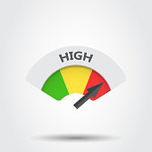 High level risk gauge vector icon. High fuel illustration on gray background.