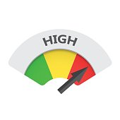 High level risk gauge vector icon. High fuel illustration on white background.
