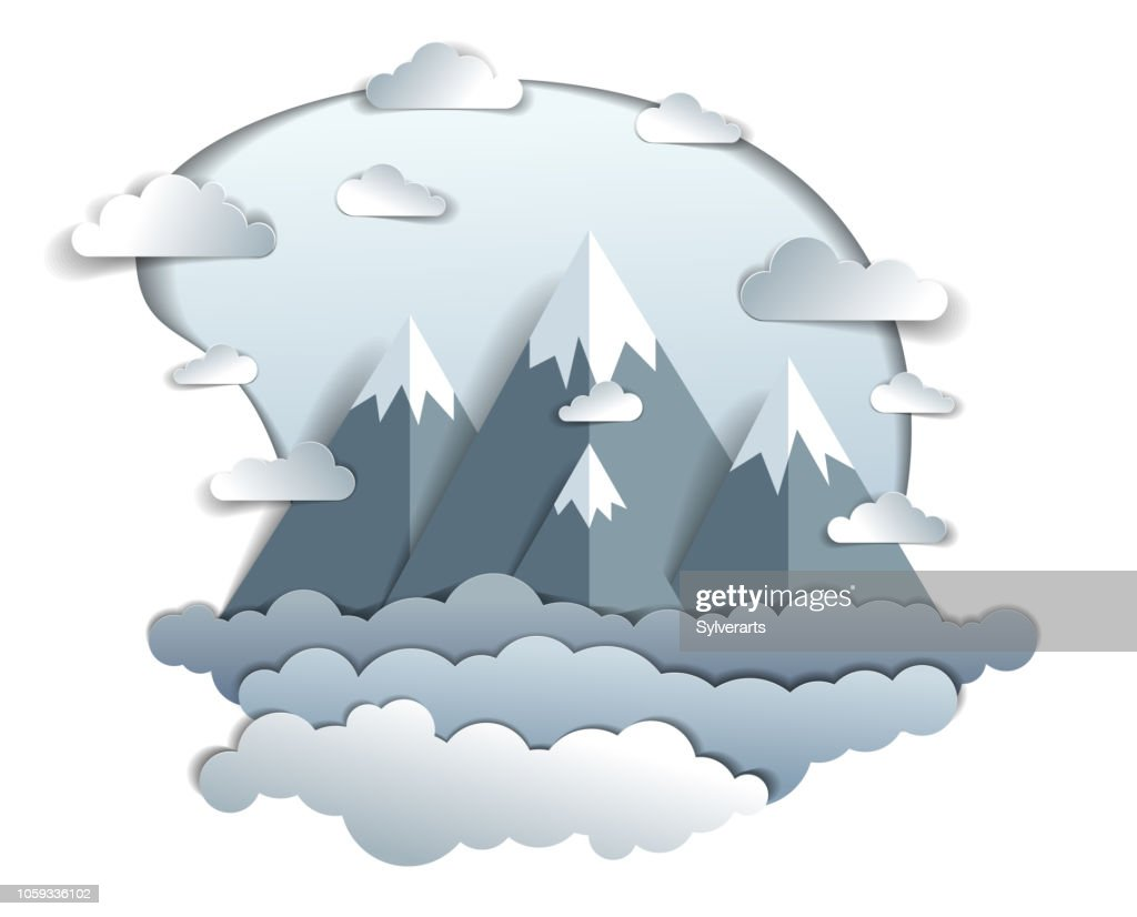 High mountain peaks range scenic landscape of summer with clouds in the sky, paper cut style childish illustration, holidays, travel and tourism theme.