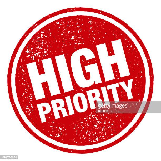 High Priority Red Rubber Stamp Icon on Transparent Background