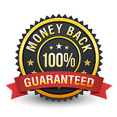 High quality heavy 100% money back guarantee badge on white background.