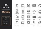 20 High quality Memory Line Icon
