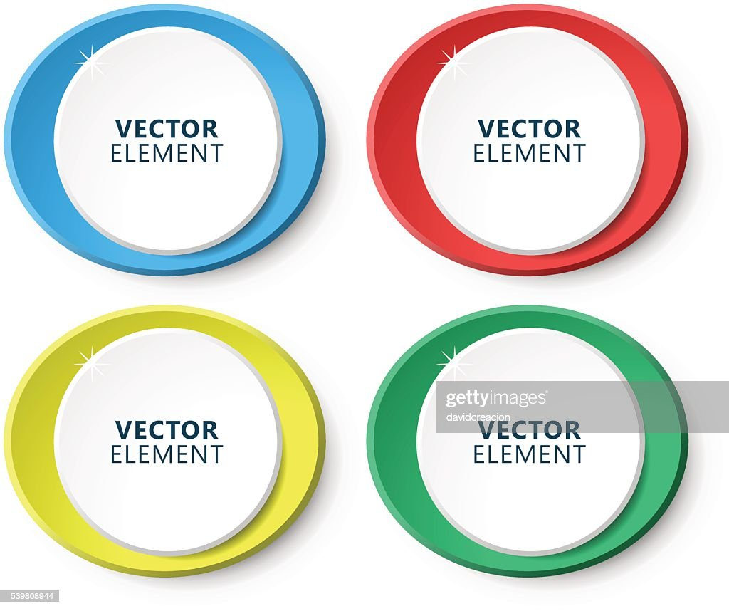 High Quality Modern Circular Color Labels on White Background.