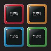 High Quality Modern Square Color Labels on Black Background.