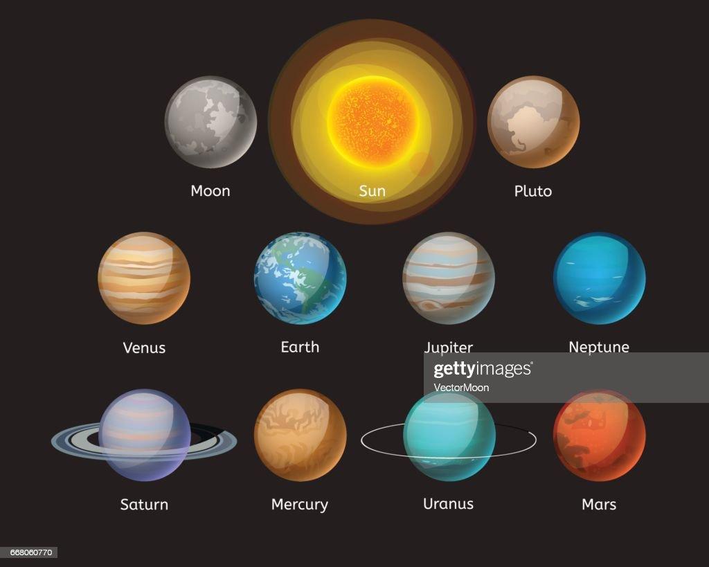 High quality solar system planet galaxy astronomy earth science globe orbit star vector illustration