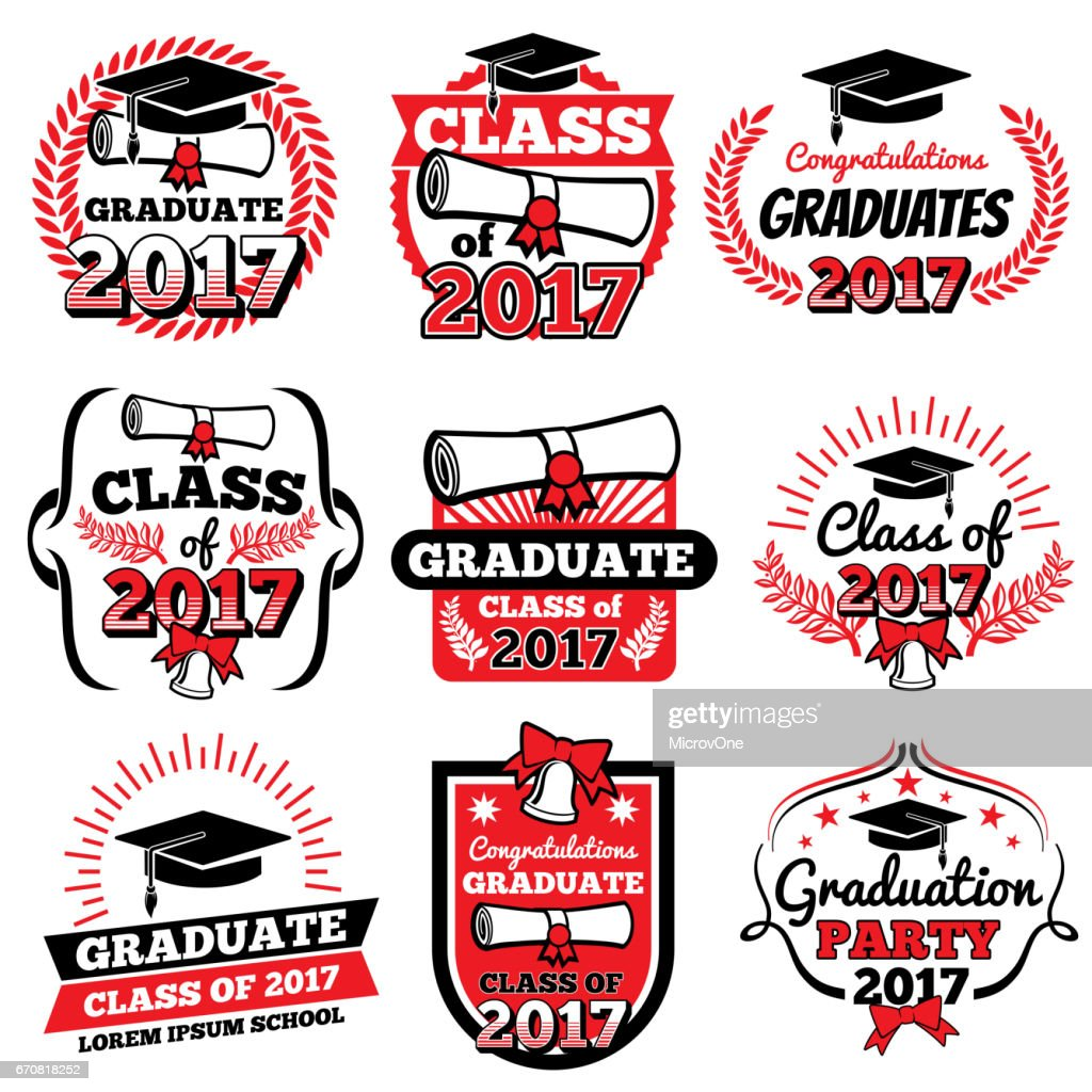 High school and college graduation, off to school vector logos and labels set