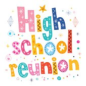 high school reunion decorative lettering text