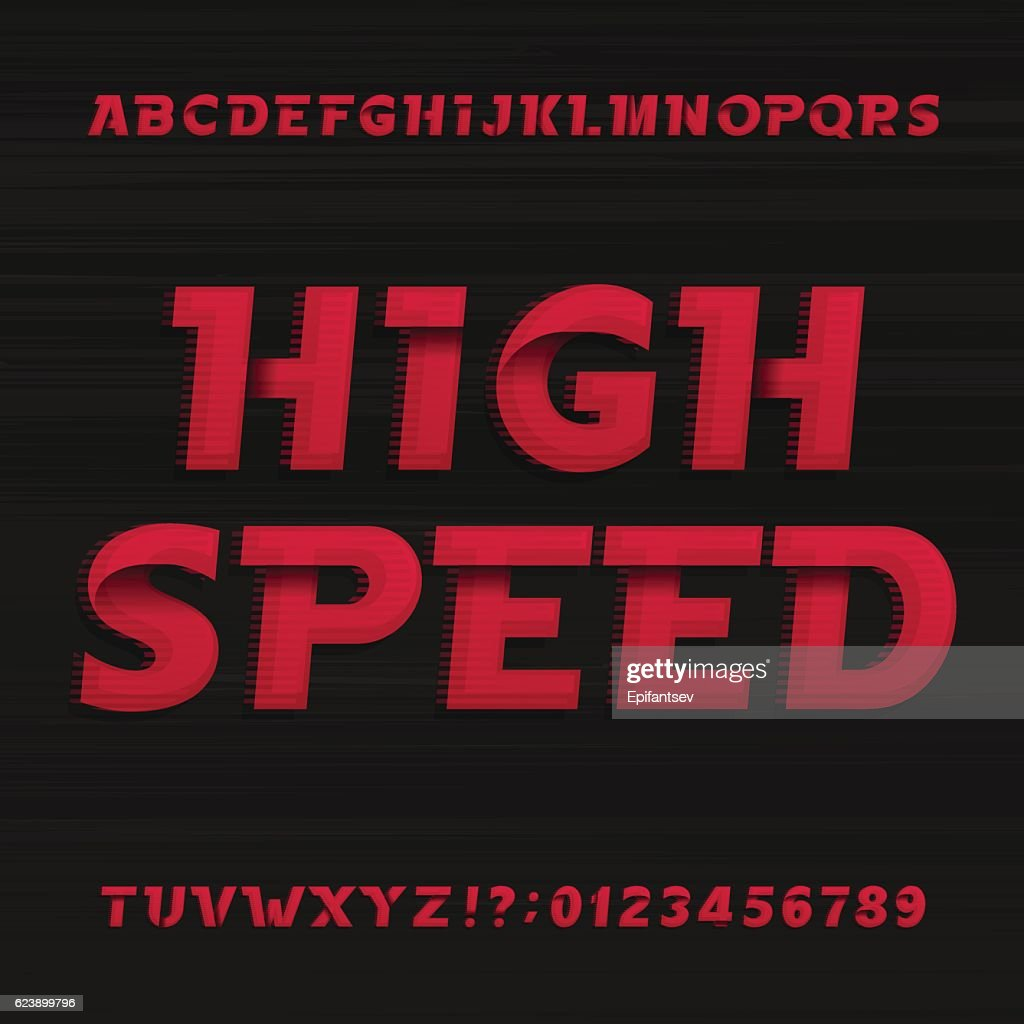 High speed alphabet font. Oblique dynamic letters.