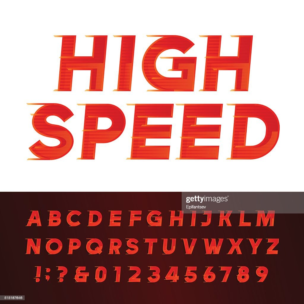 High Speed alphabet vector font.