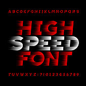 High speed alphabet vector font. Wind effect type letters.